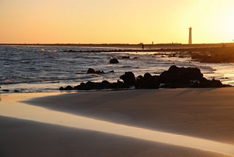 Widok na latarnię morską w Solana Matorral